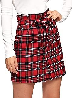 WDIRARA - Falda corta para mujer, informal, a cuadros, cintura alta, con cierre de botón, línea A