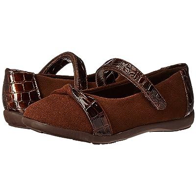 Jumping Jacks Kids Balleto Twist (Toddler/Little Kid/Big Kid) (Brown Suede/Croco) Girls Shoes