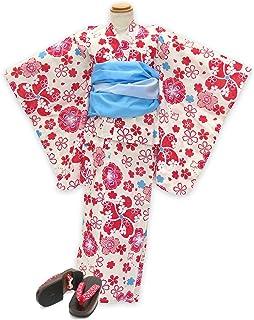 浴衣 こども 女の子 セット 古典柄の女の子浴衣 兵児帯 下駄 3点セット 100「赤系 桜と千鳥」OCN10-9A-Zset