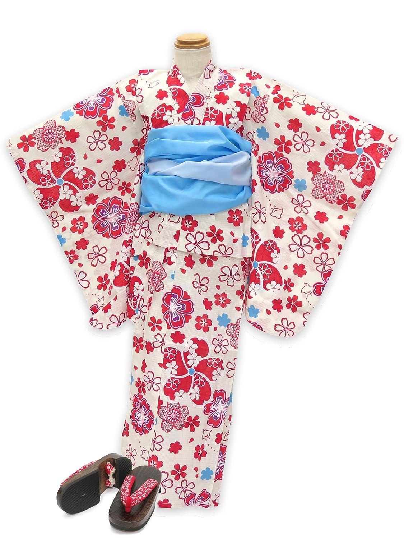 浴衣 こども 女の子 セット 古典柄の女の子浴衣 兵児帯 下駄 3点セット 110「赤系 桜と千鳥」OCN11-9A-Zset