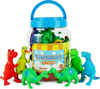 Boley Learning Lootbox Educational Toys for Kids & Toddlers - 12 Piece Toy Dinosaur Figures - Including T-Rex, Brontosaurus & More