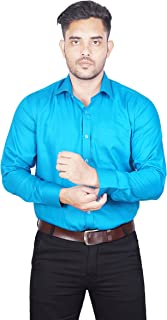 House of Sensation Men's Smart Shirts with Comfortable Everyday Pure Cotton-Fit Solid Color