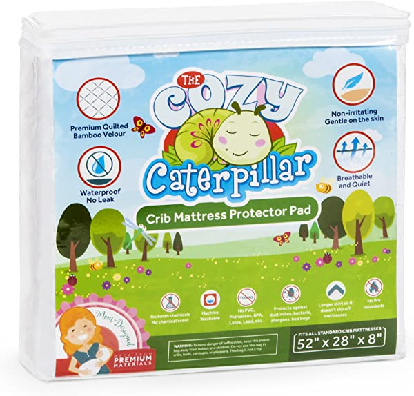 Cozy Caterpillar Crib Mattress Protector Pad 100 Waterproof Bamboo Crib Mattress Cover Topper For Baby Toddler Hypoallergenic Eco Friendly Washer Dryer Safe No Harsh Chemicals