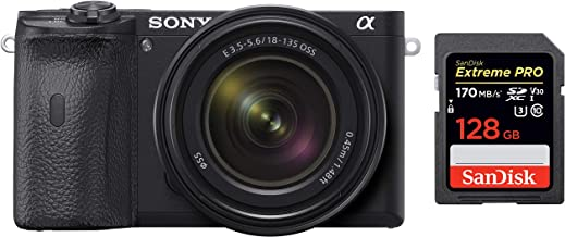Sony Alpha ILCE 6600M 24.2 MP Mirrorless Digital SLR Camera with 18-135 mm Zoom Lens + SanDisk 128GB Extreme Pro SDXC UHS-...