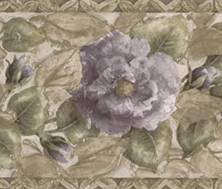 Purple Blooming Roses Green Floral Wallpaper Border Retro Design, Roll 15' x 7''
