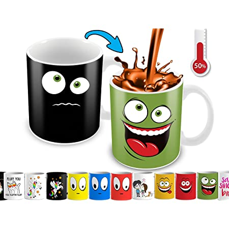 Cortunex Funny Coffee Mug - Anime Color Changing Magic Mug With Funny Smiley Face   Cute Heat Changing Kids Mug   11 Oz Ceramic Novelty Coffee Mug With Color Box - Green