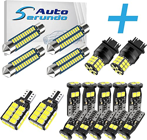 discount Serundo Auto 4pcs online sale 578 Led Bulb+ 10pcs 194 LED outlet online sale Bulbs+2pcs 921 BackupLight+2pcs 3157 LED Bulbs outlet sale
