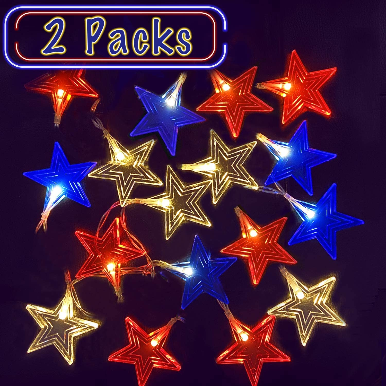 2 Pack LED Red White Blue String Indoor New product! New type Colorado Springs Mall LEDs Lights 7.6Ft Bat 16