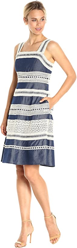 Adrianna Papell - Chambray Fit and Flare Dress with Contrast Striped Lace Trims