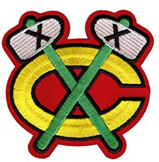 Chicago Blackhawks Shoulder Logo Emblem Team Jersey Patch Green Tomahawks (Red)