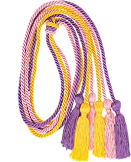 Whaline 3Pcs Graduation Honor Cords, Rayon Braided Honor Cords with Tassels for Grad Days and Graduates Photography (Pink, Gold, Purple)