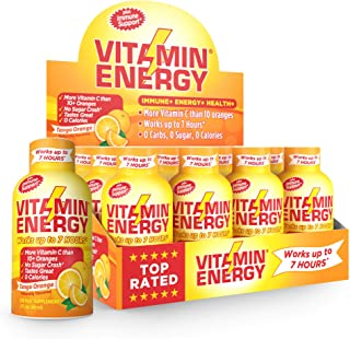Vitamin Energy Shots – Energy Lasts up to 7+ Hours*, Supports Immune Health*, Great Tasting Tango Orange, Keto Friendly 0 Sugar / 0 Carbs (12 pack)