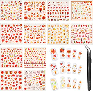 Blulu 12 Sheets Thanksgiving Fall Nail Stickers Autumn Leaves Nail Decals Nail Tattoo Stickers and Tweezer for Women Girls DIY Nail Decorations