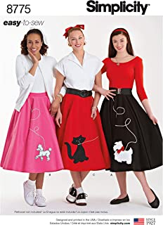 Simplicity 8775 Women's 1950's Vintage Rockabilly Poodle Skirt Sewing Pattern, Sizes 14-22