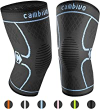 CAMBIVO 2 Pack Knee Brace, Knee Compression Sleeve Support for Running, Arthritis, ACL, Meniscus Tear, Sports, Joint Pain Relief and Injury Recovery