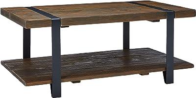Amazon.com: Gijon Walnut Wood Coffee Table w/Open Shelf by ...