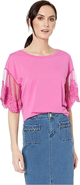 Jersey Short Sleeve Top w/ Lace