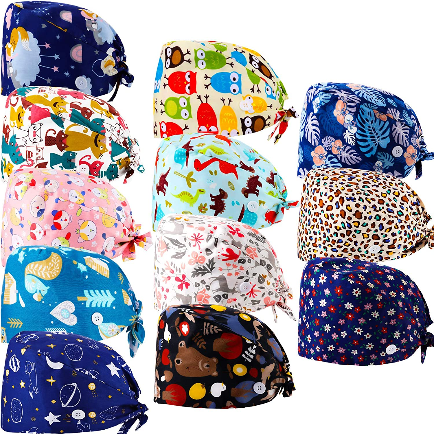 12 Free Shipping Cheap Bargain Gift Pieces Bouffant Caps with Buttons Head Sweatband Year-end annual account Adjustable H