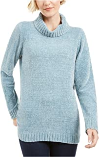 KAREN SCOTT Womens Light Blue Heather Long Sleeve Turtle Neck Blouse Sweater AU Size:10