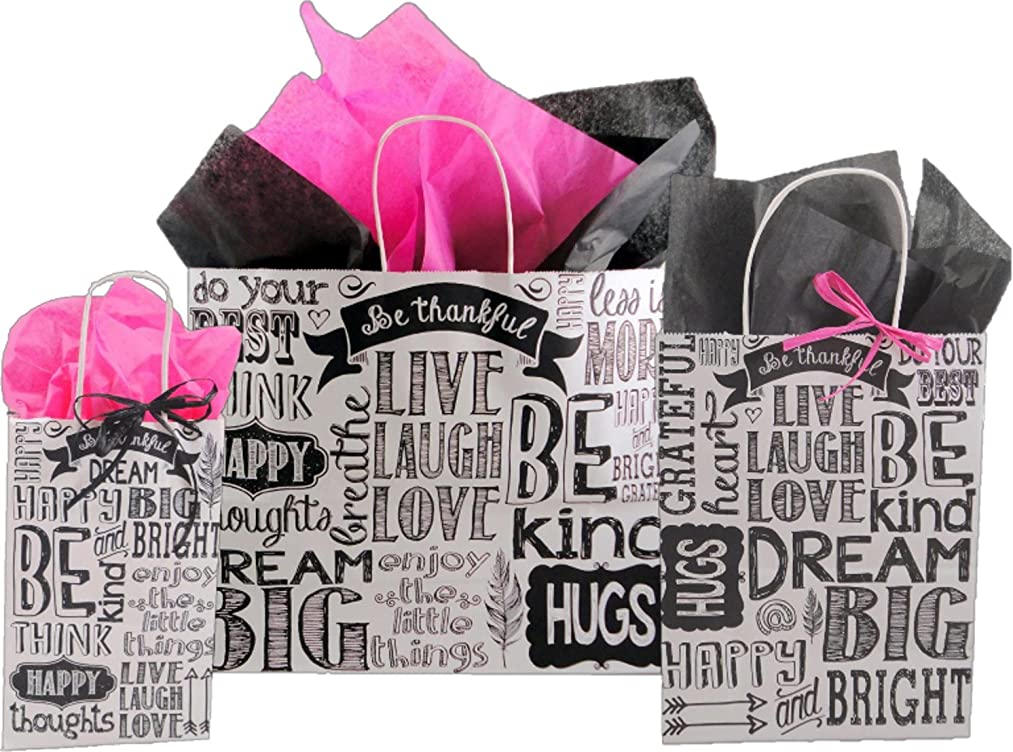 Gift Bags, Assorted Sizes, Bundled with Coordinating Tissue Paper and Raffia Ribbon (Chalkboard Sentiment)