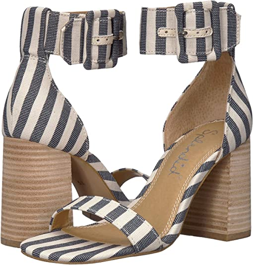 Navy/natural Striped Fabric