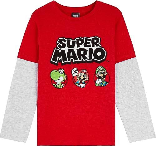 Super Mario Vetement Garcon Motif Mario Bros Et Luigi, Tee Shirt Manche Longue en Coton, Tshirt Mode 3-13 Ans, Idée C...