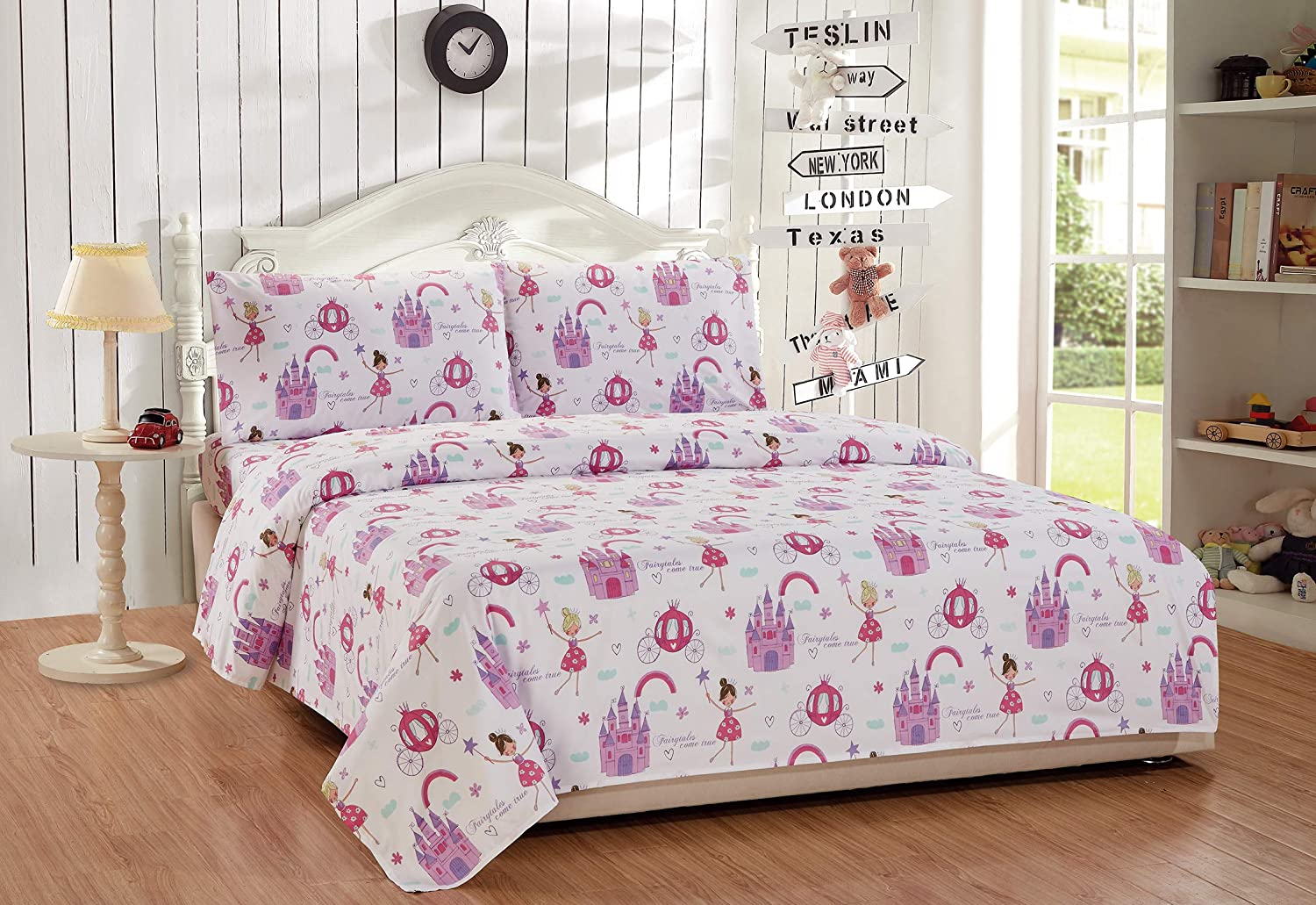 Mk Home 3pc Twin Size Sheet Set for Girls Princess Fairy Tales Castles Pink White Lavender New