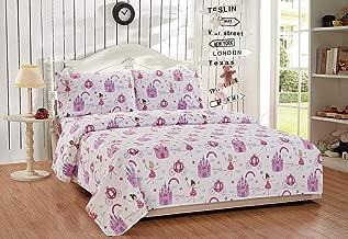 Fancy Linen 3pc Twin Sheet Set Princess Castle Fairy Tales Pink Lavender White Aqua New