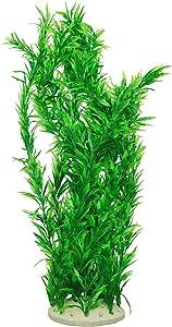"E.YOMOQGG Aquarium Decoration Artificial Plants for Fish Tank Decor, Underwater Aquatic Plastic Grass, 20"" Tall Seaweed Ornament for Landscape (Green)"