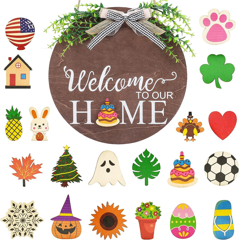 Cartel de puerta de bienvenida de temporada intercambiable Bienvenido a nuestra casa con letrero de madera con arco de búfalo a cuadros de búfalo, decoración de porche frontal,decoración de vacaciones