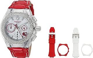 Technomarine Women's Cruise Stainless Steel Quartz Watch with Leather Calfskin Strap, red, 20 (Model: TM-117001