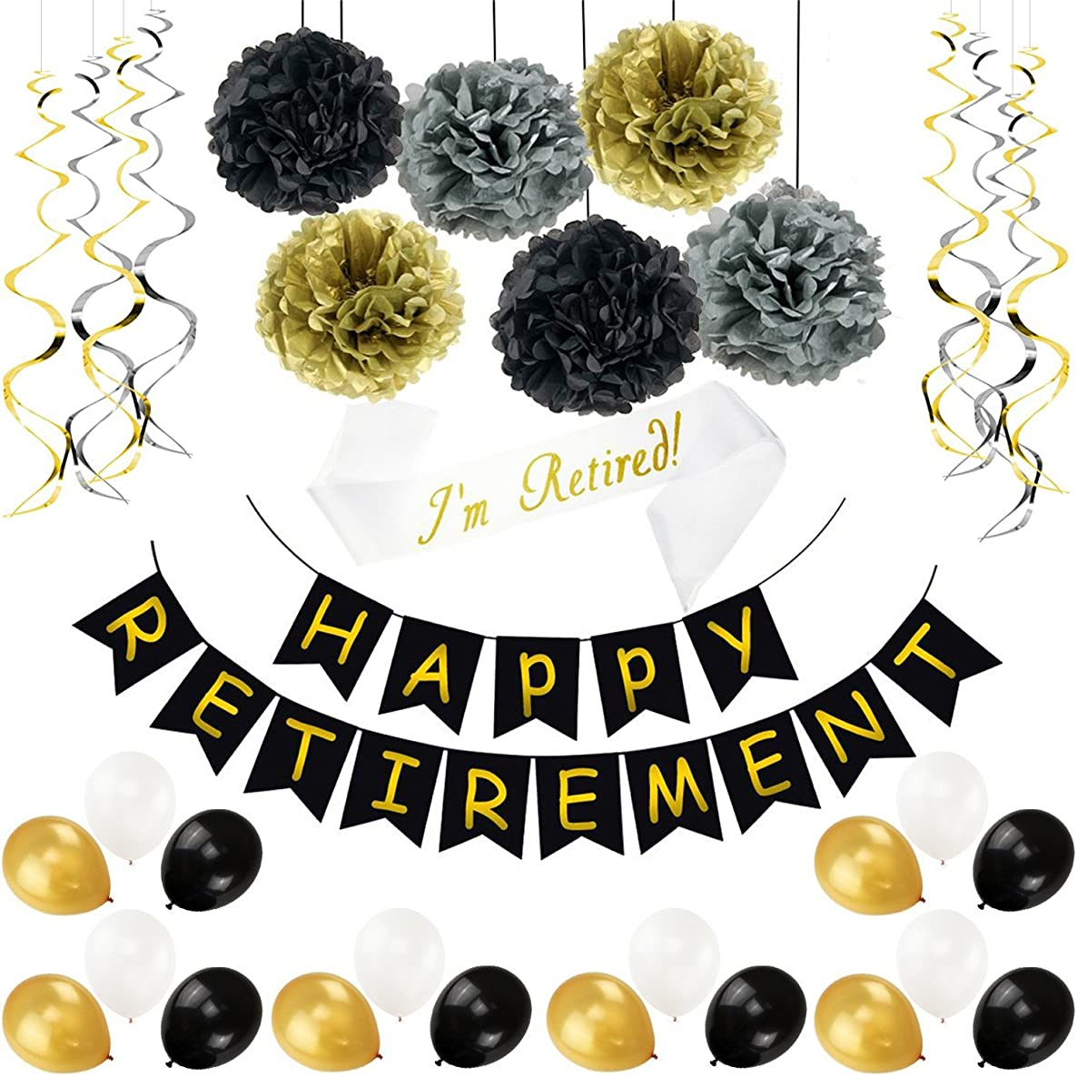 34 Pieces Retirement Celebration Banner Bunting Retired Sash Paper Pom Poms Foil Ideal Latex Balloons for Retirement Party Supplies Favors Gifts Decorations