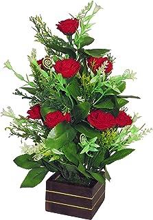 eMani Artificial Flower Pot with Flower   Flower vase for Home Decoration   Flower Pot with Artificial Flowers  Artificial Flower with Wooden/Plastic Vase….