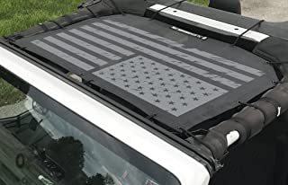 Alien Sunshade Jeep Wrangler Printed Graphic Mesh Shade Top Cover with 10 Year Warranty Provides UV Protection for Front Passengers 2-Door or 4-Door JK or JKU (2007-2017) (Tactical Flag Grunge)
