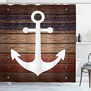 Ambesonne Marine Shower Curtain, Boat Themed Anchor Marine Nautical Antiqued Rustic Wooden Western, Cloth Fabric Bathroom Decor Set with Hooks, 70