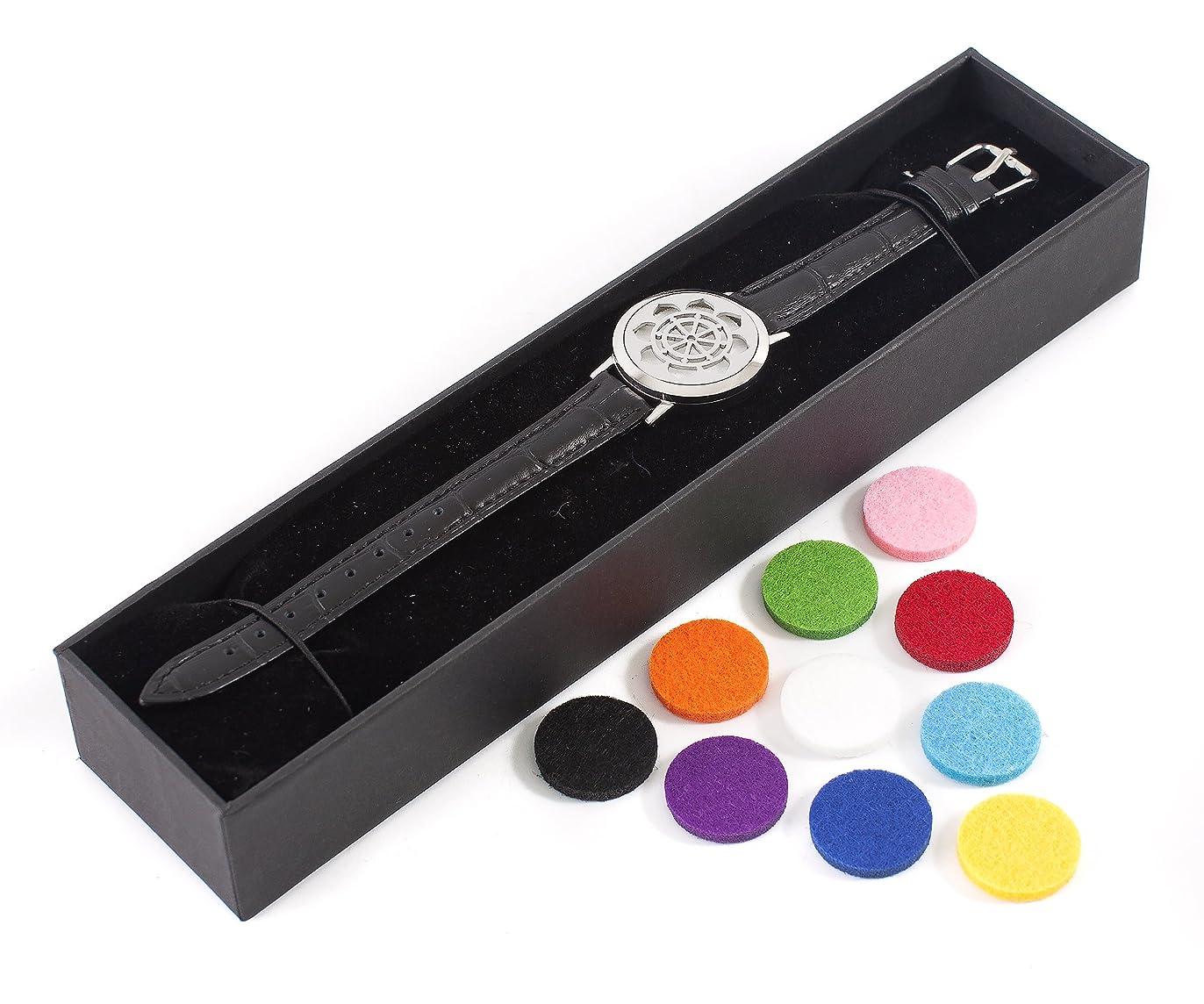 参照逆無謀Mystic Moments | Dharma Wheel | Aromatherapy Oil Diffuser Bracelet with Adjustable Black Leather Strap