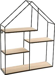 Versa 20850022 Estanteria Pared, 51x11x40cm, Metal y madera, Casa, Jardín