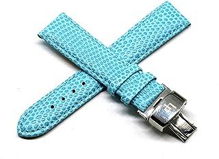 20MM Lizard Grain/Texture Genuine Leather Watch Strap Sky Blue. Silver LP Butterfly Clasp