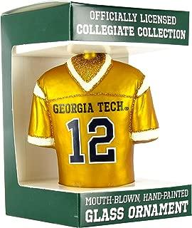 NCAA Georgia Tech Yellow Jackets #12 Gold Glass Football Jersey Ornament by Football Fanatics