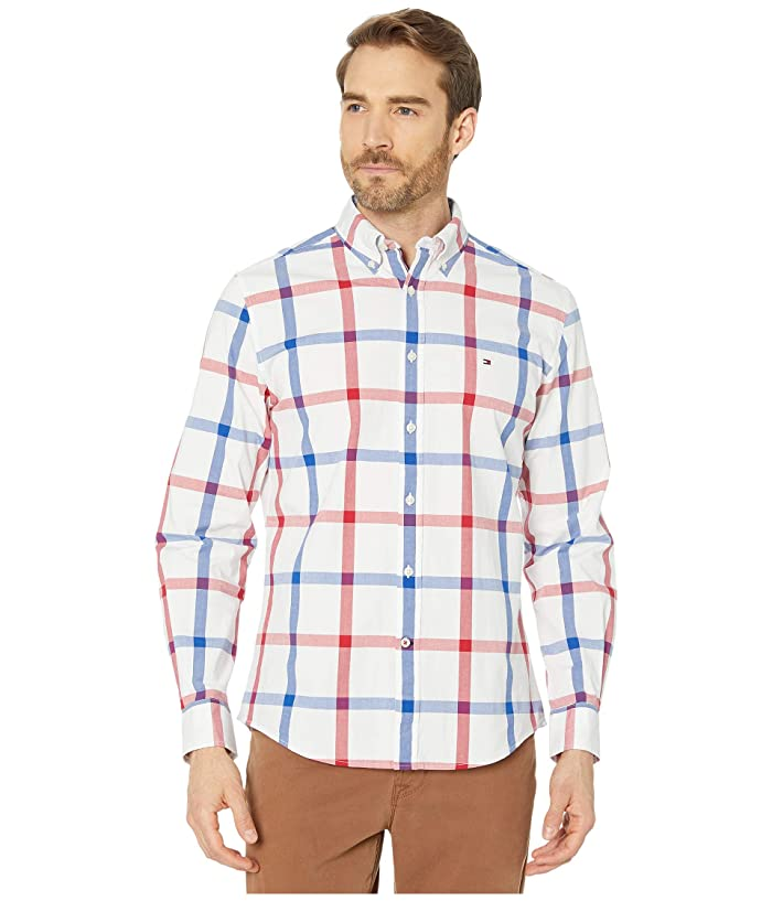 Tommy Hilfiger  Talbot Plaid Long Sleeve Stretch Poplin Classic Fit (Bright White) Mens Clothing