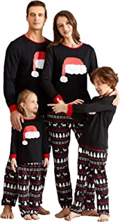 Yaffi Matching Family Pajamas Sets Christmas PJ's with Santa Hat Tee and Festival Style Pants Loungewear Upgrade 2019
