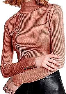 JING Women's Merino Wool Pullover Sweater Jumper High Neck Knit Elastic Long Sleeve 19128