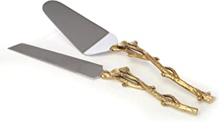 2 Piece Goldleaf (twig) Cake Server Set. 1 Cake Knife and 1 Cake Server. Leaf Design 2 Tone Made of Stainless Steel and Brass. Ideal for Weddings, Party's, Elegant events,
