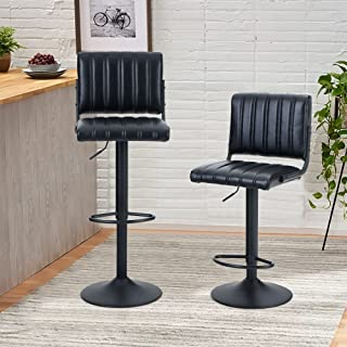 PHI VILLA Bar Stools Set of 2,Adjustable Bar Stools Counter Height with Square Back for Kitchen Island,Dining Room and Liv...