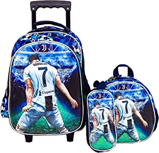3d Ronaldo School Backpack and trolley Bag For Kid Boy Blue Include Lunch Bag And Pencil Bag (15 INCH)