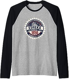 Eureka CA California Redwood Coast Humboldt Bay Souvenir  Raglan Baseball Tee
