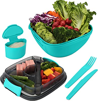 SUPSTACCO Salad BPA-Free Lunch Container with 3-Compartment Bento-Style Tray for Salad Toppings and Snacks, Sauce Container for Dressings, and Built-In Reusable Fork & Knife (BLUE)