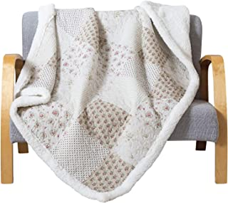 Soul & Lane Printed Cotton Throw Blanket Budding Beauty with White Fleece/Sherpa (50