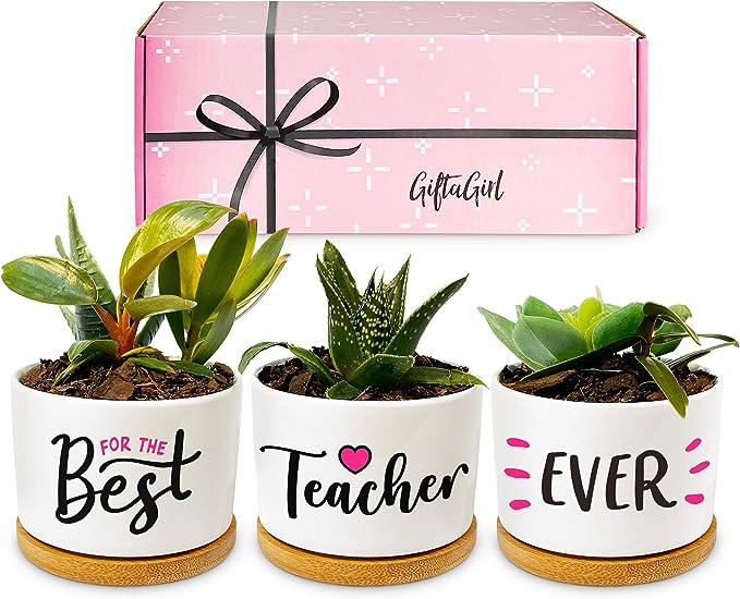 GIFTAGIRL Best Teacher Gifts for Women - Our Beautiful Best Teacher Ever Pots are an Ideal Teacher Gift or Retirement Gifts for Teacher. A Teacher Appreciation Gift is a Lovely Keepsake for Teachers
