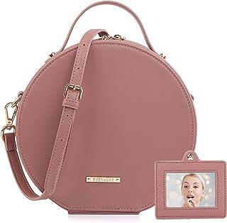 EVERMORE Handtasche Rund Umhängetasche Damen Crossbody Bag Frauen Tasche Kosmetik Henkeltasche Veganes Leder Mit Spiegel A...